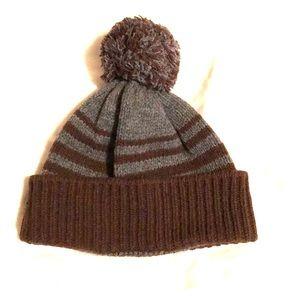 J. Crew Lambswool Stripe Pom/Beanie/Hat